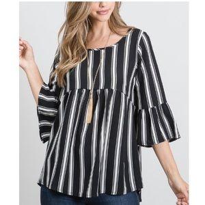 Black & Ivory Stripe Empire-Waist Tunic